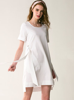 Fashion Bowknot Tied O-neck T-shirt Dress