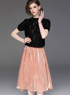 Stylish O-neck Tassel T-shirt & A Line Skirt