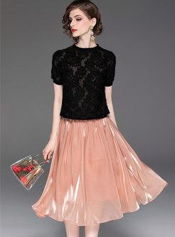 Stylish O-neck Tassel T-shirt & A Line Skirt
