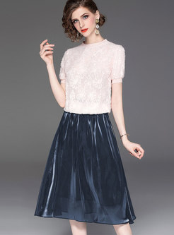 Casual O-neck Tassel T-shirt & A Line Skirt