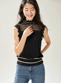 Mesh Splicing Openwork Slim Black Knit Top