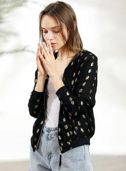 Black Dot O-neck Zipper Short Coat