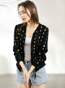 Stylish Polka Dot O-neck Zipper Short Coat