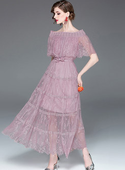 Solid Color Hollow Out Lace Slash Neck Maxi Dress