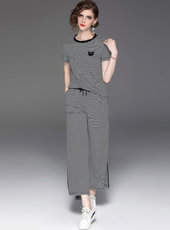 Casual Striped O-neck T-shirt & Tie-waist Wide Leg Pants