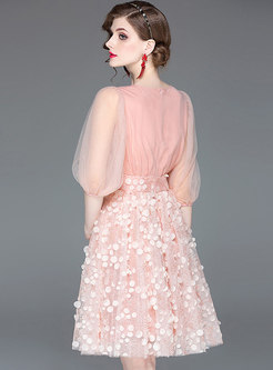 Tassel Feather Lace Mesh Pink Splicing Ball Gown Dress