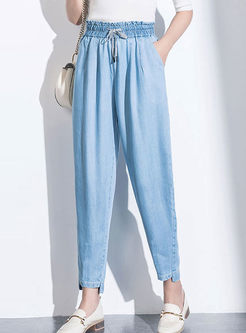 Fashion Elastic High Waist Denim Pants