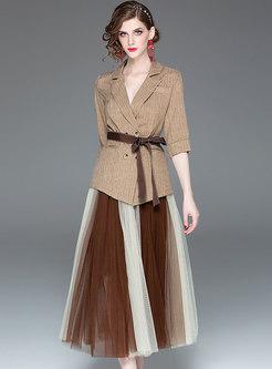 Elegant Striped Tied Blazer & Color-blocked Mesh Skirt