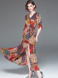 Bohemia V-neck Multicolor Print Split Maxi Dress