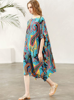 Chic Print O-neck Asymmetric Loose Dress
