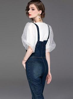 Stylish Puff Sleeve Slim T-shirt & Denim Overalls