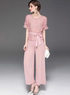 Pink Tassel Belted T-shirt & Wide Leg Pants
