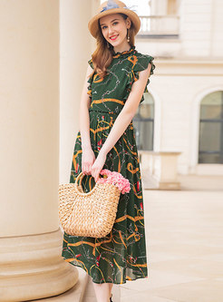 Color-blocked Print Sweet Falbala A-line Dress