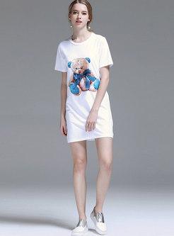 Casual Cartoon Pattern O-neck Loose T-shirt Dress