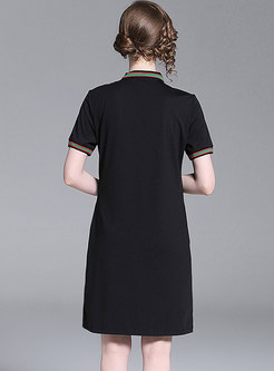 Casual Embroidered Lapel Loose T-shirt Dress