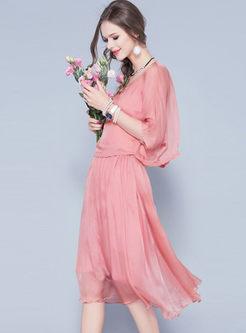 Solid Color O-neck T-shirt & Brief Skater Dress