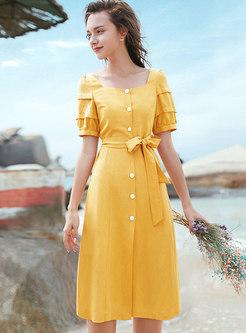 Elegant Square Neck Belted Single-breasted Slit Dress