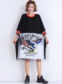 Print Splicing O-neck Loose Dress
