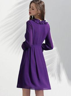 Fashion Standing Collar Chiffon Skater Dress