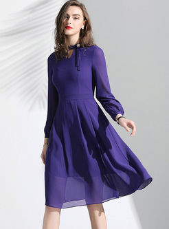 Standing Collar Long Sleeve Chiffon Dress