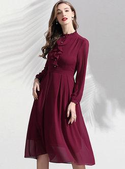 Standing Collar Falbala Long Sleeve Dress