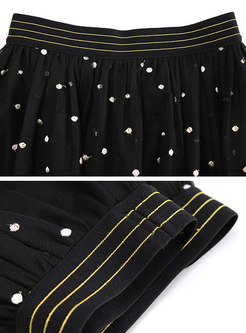 Sweet Elastic Waist Polka Dot Mini Skirt