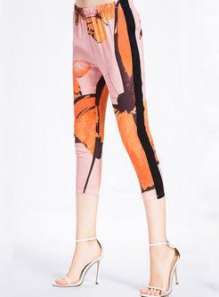 High Waist Silk Print Slim Calf-length Pants
