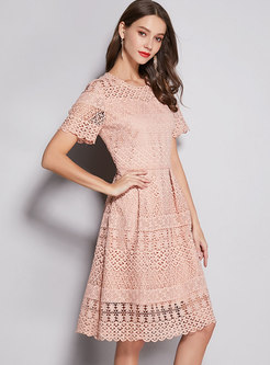 Pure Color Lace Hollow Out Hem Skater Dress