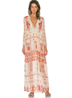 Deep V-neck Lace Print Openwork Maxi Dress