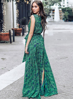 Trendy Print V-neck Split Bohemia Maxi Dress