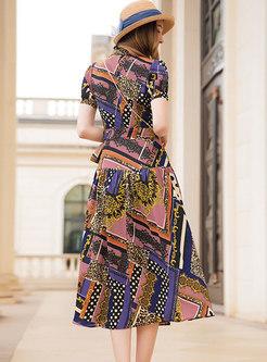 Chic Multicolor Retro Ethnic Style Skater Dress