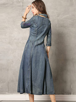 Retro Mandarin Collar Hollow Out Denim Dress