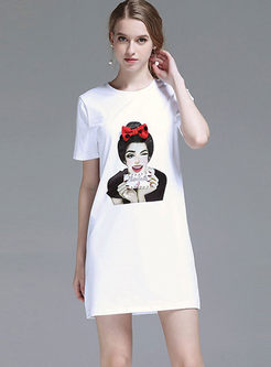 Casual O-neck Character Pattern T-shirt Dress