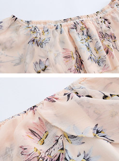 Print Slash Neck Elastic Waist Skater Dress