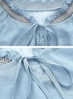 Chiffon Tie-collar Flare Sleeve Slim Falbala Dress