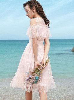 Chic Lace Off Shoulder Slim A Line Dress