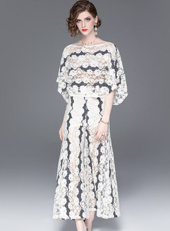 Sexy Lace Bat Sleeve Top & Wide Leg Pants