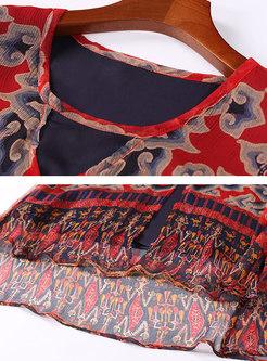 O-neck Silk Print Fake Two-piece Shift Dress