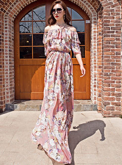 Sexy Slash Neck Print Chiffon Maxi Dress