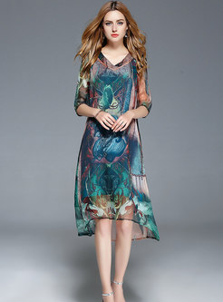 All-matched Print Slim Casual Skater Dress