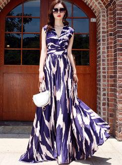 Bohemian V-neck Sleeveless Big Hem Dress