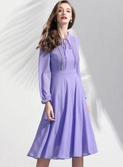Purple V-neck Tied Waist Chiffon Dress