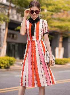 Stylish Striped Turn-down Collar Skater Dress
