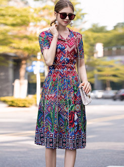 Color-blocked Lapel Splicing Skater Dress