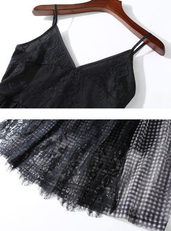 Lapel Asymmetric Vest & Mesh Plaid Sling Dress