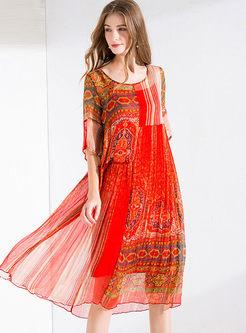 Half Sleeve Print Big Hem Dress With Cami
