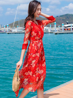 Trendy Print V-neck Elastic Waist A Line Dress