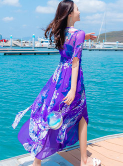 Bohemia Print Flare Sleeve Gathered Waist Slim Dress