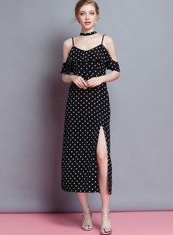 Sexy Polka Dot Off Shoulder Slit Slip Dress