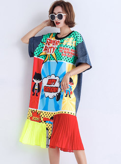 Cartoon Pattern O-neck Pleated T-shirt Dress